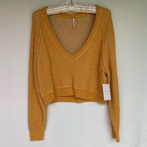 Free people deep V- neck knit cropped sweater